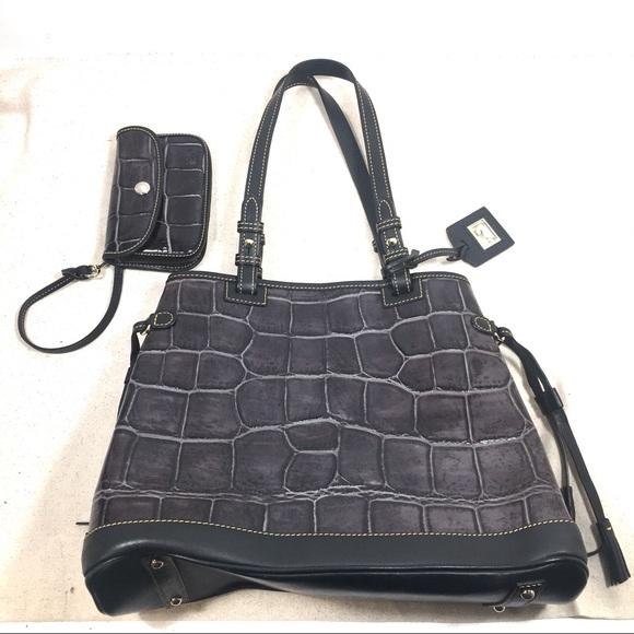 Dooney & Bourke Handbags - Dooney & Bourke Croco Double Strap Tassel Bag